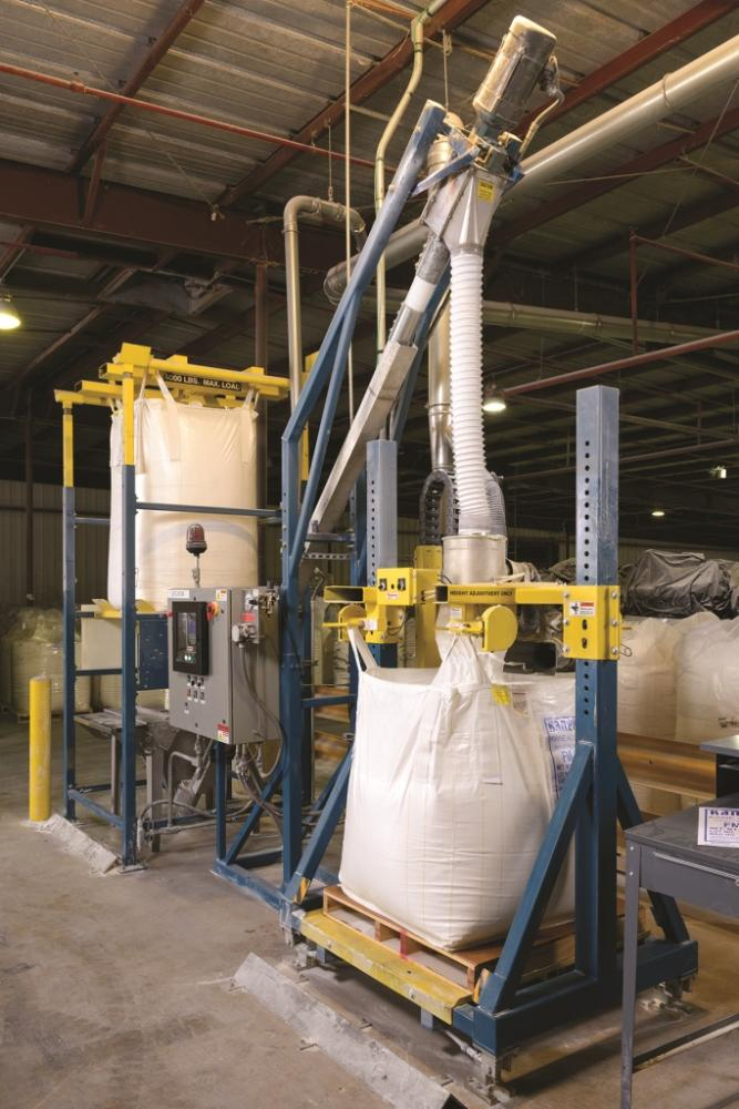 pvc modifiers re packaged using bulk bag dischargers filler