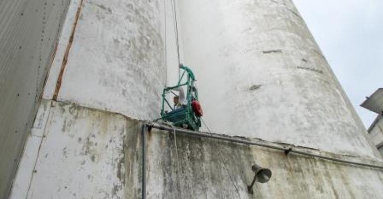 Silo exterior wall inspection