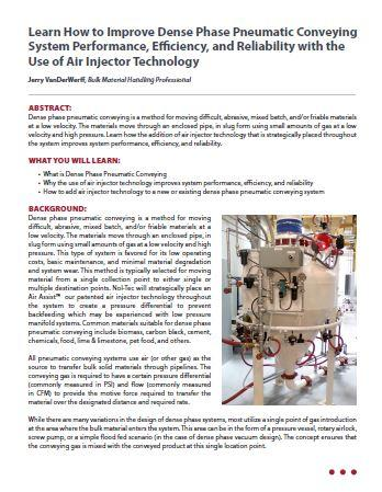 Learn How to Improve Dense Phase Pneumatic Conveying System Performance, Efficiency, and Reliability with the Use of Air Injector Technology