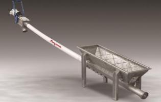 Flexicon flexible screw conveyor with trough hopper