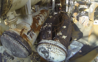 The reboiler at Williams Olefin's Geismar, LA plant, which ruptured and exploded in 2013, killing two. Image courtesy of CSB