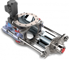 A rail system offers easy access to the valve's internals for maintenance.