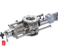 Figure 3 - Rotary valve for mid-level hygiene requirement and wet cleaning: drop through rotary valve with slide rails