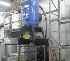 An Elevator Series, Model EL25, fully NFPA-compliant, meant for both spill recovery and general housekeeping at a feed mill in Otterburne, MB