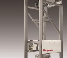 Flexicon Bulk-Out bulk bag discharger with stainless steel open-channel construction