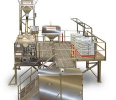Batch loading and mixing system, elevated for ergonomic ease