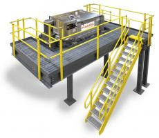Mixing system with load cells and easy access work platform