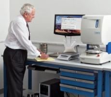 Customer samples are tested using Brookfield's PFT powder flow tester for flow f