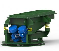 Rotary electric vibrators on vibratory feeder
