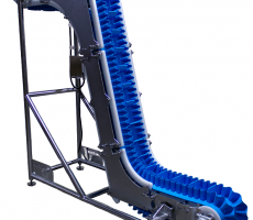 The KleanTrak food-grade conveyor by UniTrak features an open-tubular frame design to make cleaning easier.