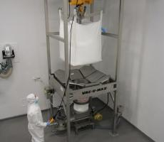 Bulk bag discharge systems provide an easy, clean, and controlled way to discharge entire contents of bulk bags.