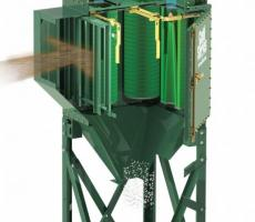 Cutaway view shows airflow pattern through a typical cartridge dust collector.