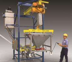 Flexicon's IBC discharger raises and positions rigid IBCs without the use of a forklift.