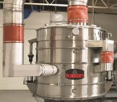 Kason's 84 in.-diam double-deck Vibro-Bed circular fluid bed processor