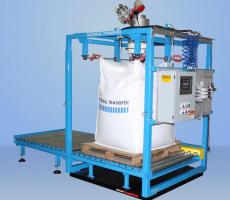 Bulk bag filling system with gain-in-weight scale system and digital weight indicator