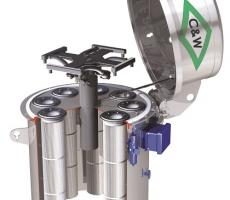C&W stainless steel low-profile round silo collector