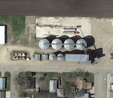 The LB Pork grain elevator in Northrop, MN. Image courtesy of Google Earth