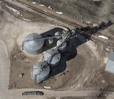 The ADM grain elevator in Manilla, IA will be purchased by Landus. Image courtesy of Google Earth
