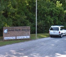 A sign marking the entrance to the Lhoist North America facility in Alabaster, AL. Image courtesy of Google Maps