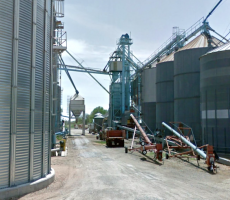 A dust explosion injured a man at the Palmer Grain elevator in Palmer, KS, pictured here. Image courtesy of Google Maps