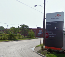 A sign near the entrance to the ArcelorMittal plant in Cleveland, OH. Image courtesy of Google Maps