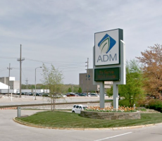A sign marking an entrance to the ADM facility in Decatur, IL. Image courtesy of Google Maps
