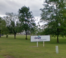 A sign marking an entrance to the Cargill feed facility in Wilson, NC. Image courtesy of Google Maps