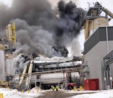 A dryer fire and explosion were reported at the ARAUCO particleboard plant in Grayling, MI on Thursday. Image courtesy of the Grayling Department of Public Safety Facebook Page