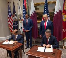 President Donald Trump and His Highness, Sheikh Tamim bin Hamad Al Thani, Amir of the State of Qatar, witness the signing. Image courtesy of Chevron Phillips Chemical