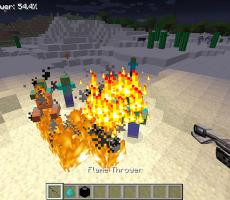 "A flamethrower in ""Polycraft World."" Image courtesy of UT Dallas."